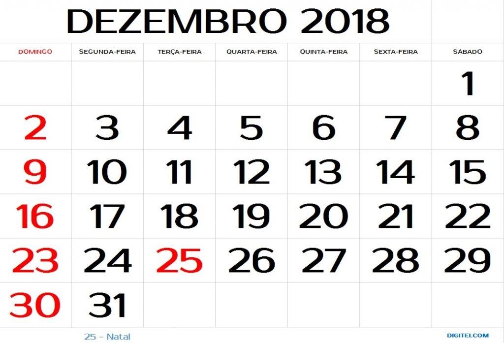 calendário dezembro 2018