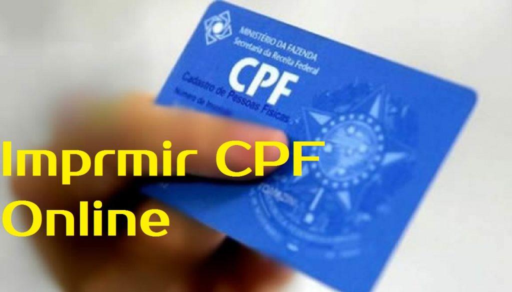 imprmir cpf online segunda via cpf