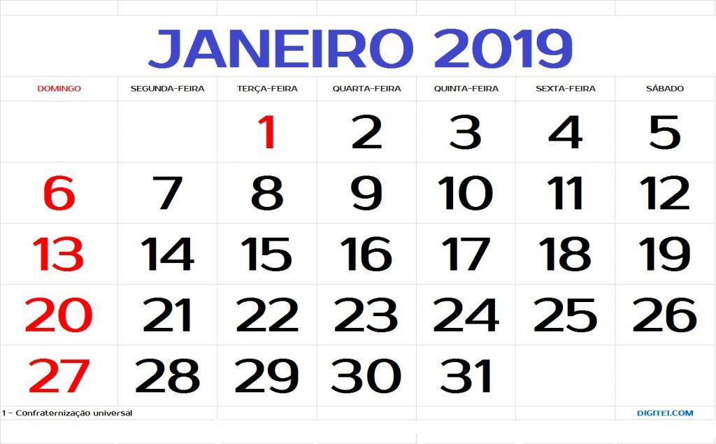 Calendário Janeiro 2019 feriados para imprimir