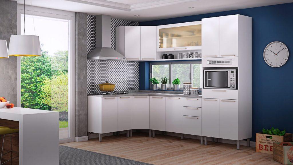 cozinha modulada branca e simples