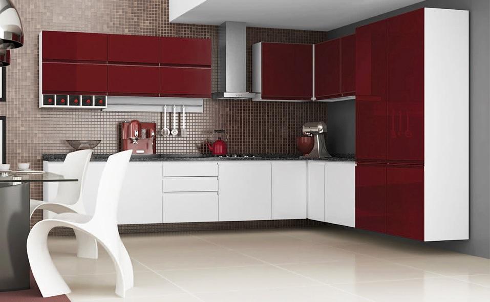 cozinha modulada mdf vermelha