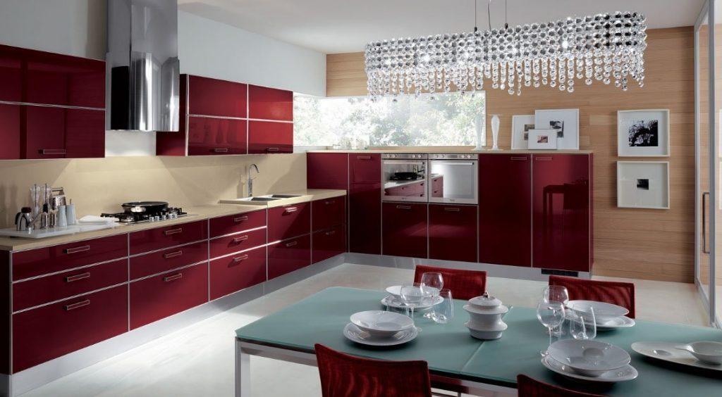 cozinhas moduladas pequenas vermelha