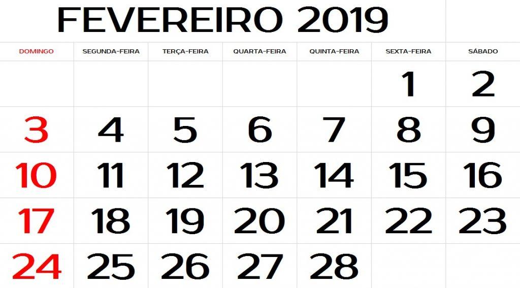 CALENDARIO FEVEREIRO 2019 COM FERIADOS PARA IMPRIMIR