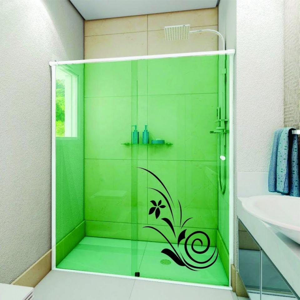 box para banheiro com pelicula verde