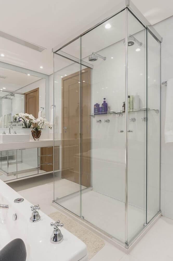 box para banheiro de vidro transparente em inox