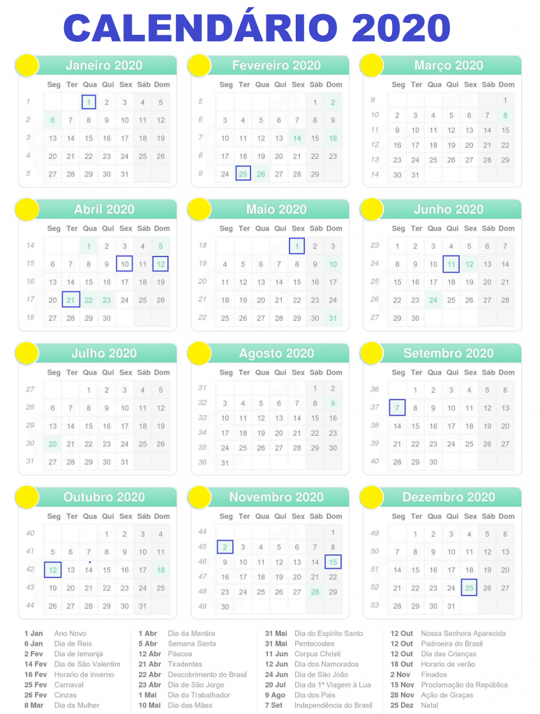 calendário 2020 feriados para imprimir