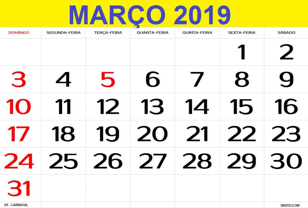 calendario março 2019 feriados para imprimir