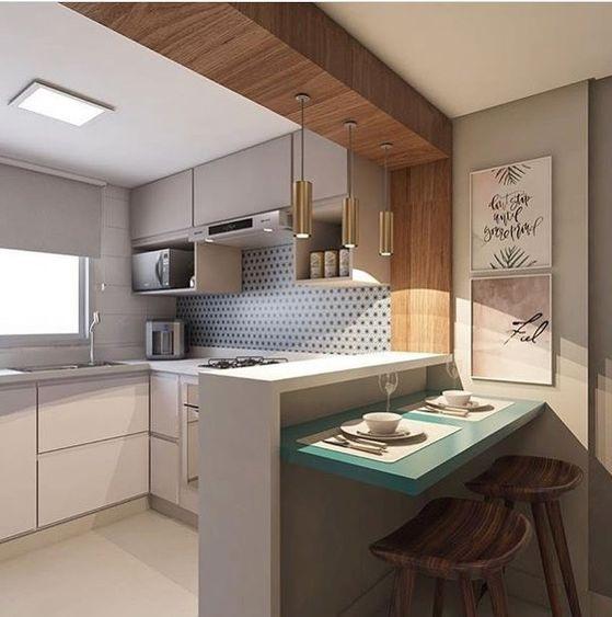 cozinha pequena com bancada passa prato