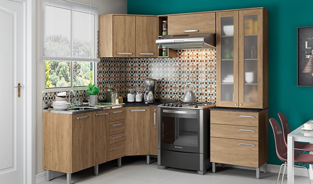 cozinha pequena modulada e decorada