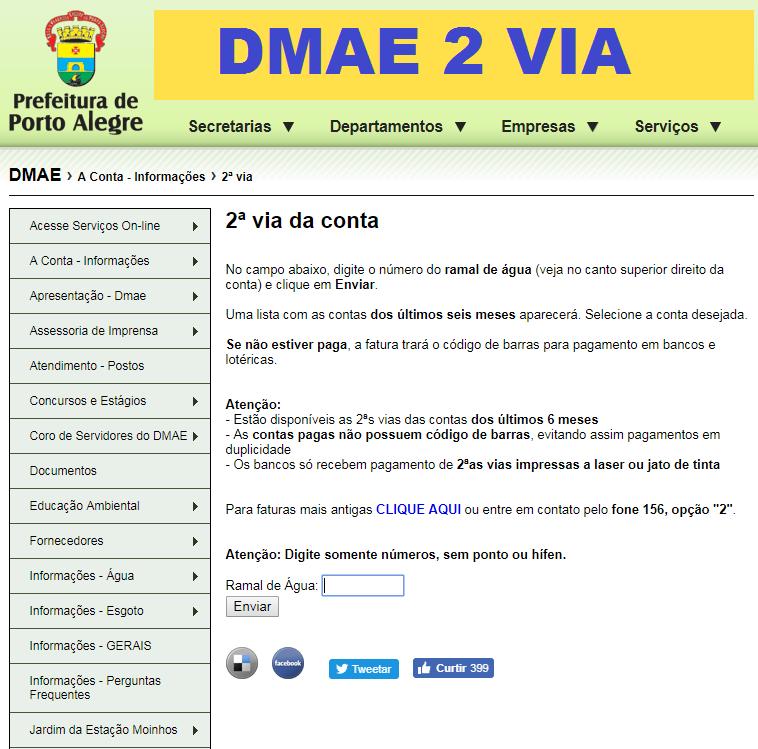 dmae 2 via de conta de agua
