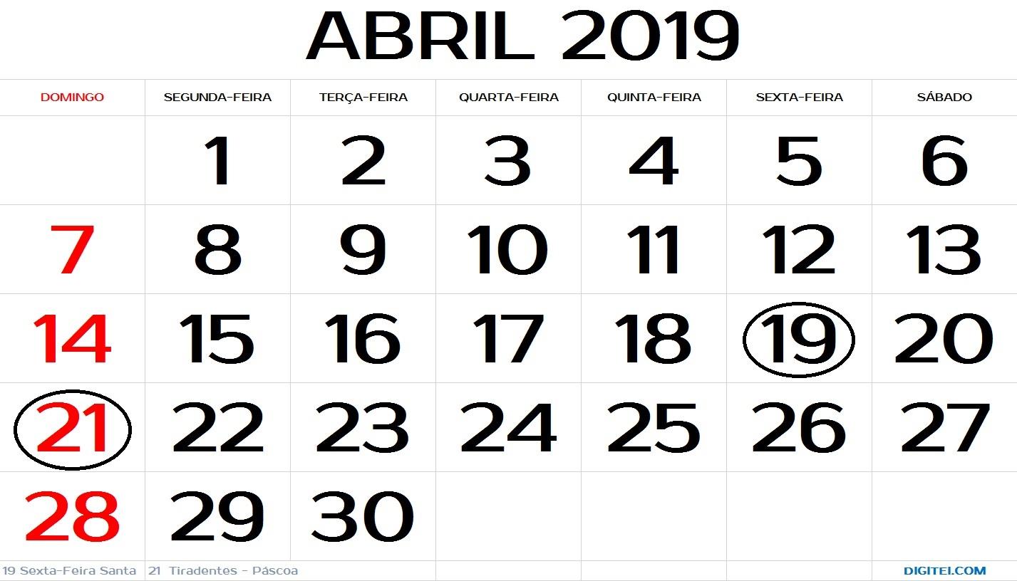 calendario abril 2019 com feriados nacionais para imprimir