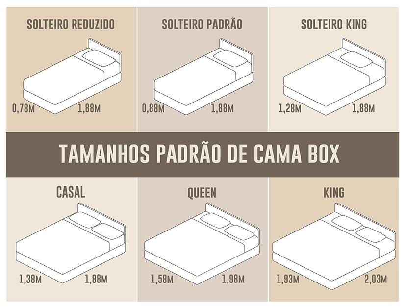 tamanhos de cama box casal king size queen size e tamanho cama solteiro box