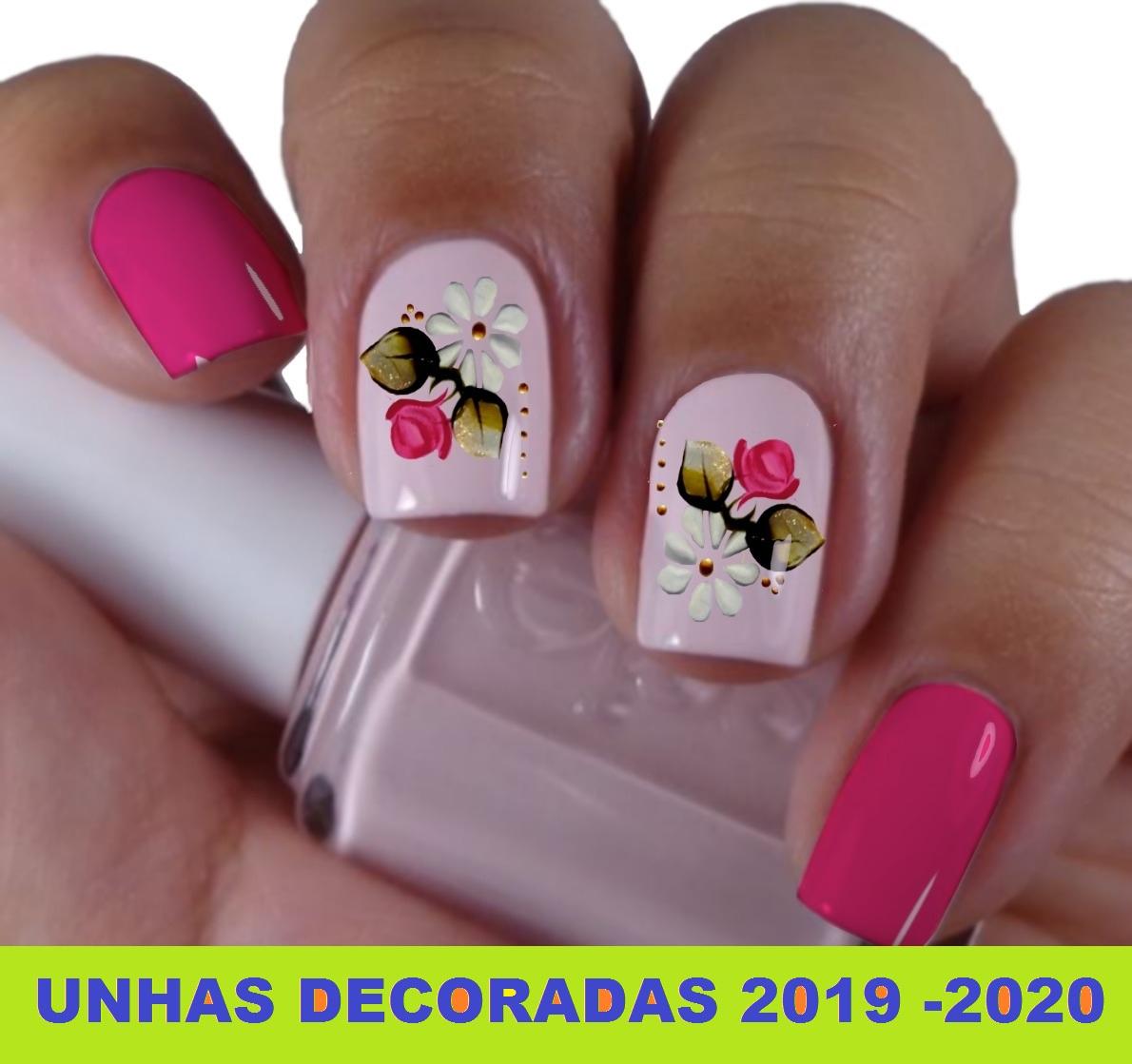 unhas decoradas com flor 2019 - 2020