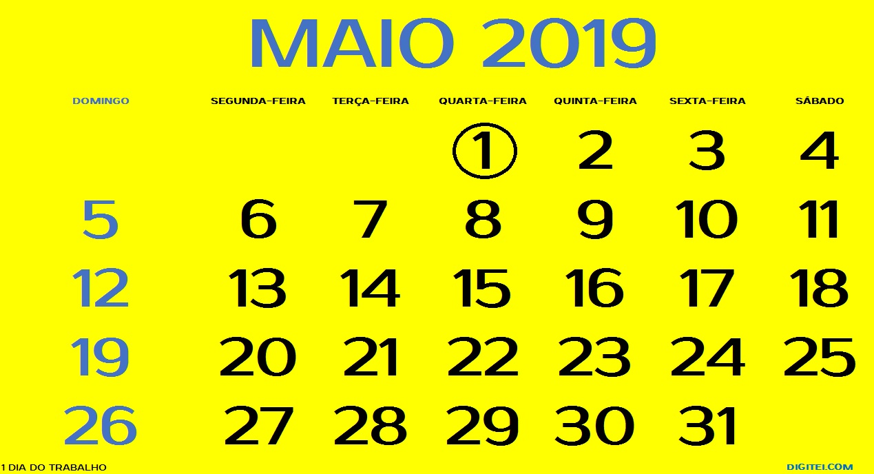 CALENDÁRIO MAIO 2019 FERIADOS PARA IMPRIMIR